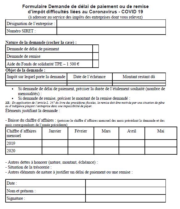 Formulaire Demande de délai de paiement ou de remise d'impôt difficultés liées au Coronavirus - COVID 19